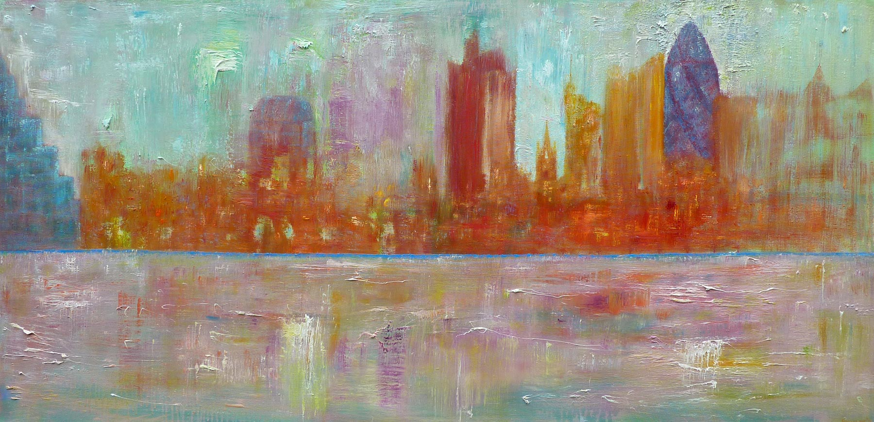 View From The Thames - Oil on Canvas 81cm x 155cm