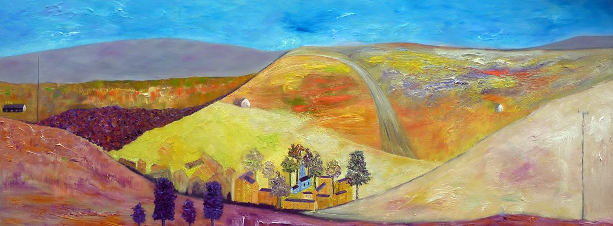 View Across a Northern Village - Oil on Canvas - 76cm x 203cm