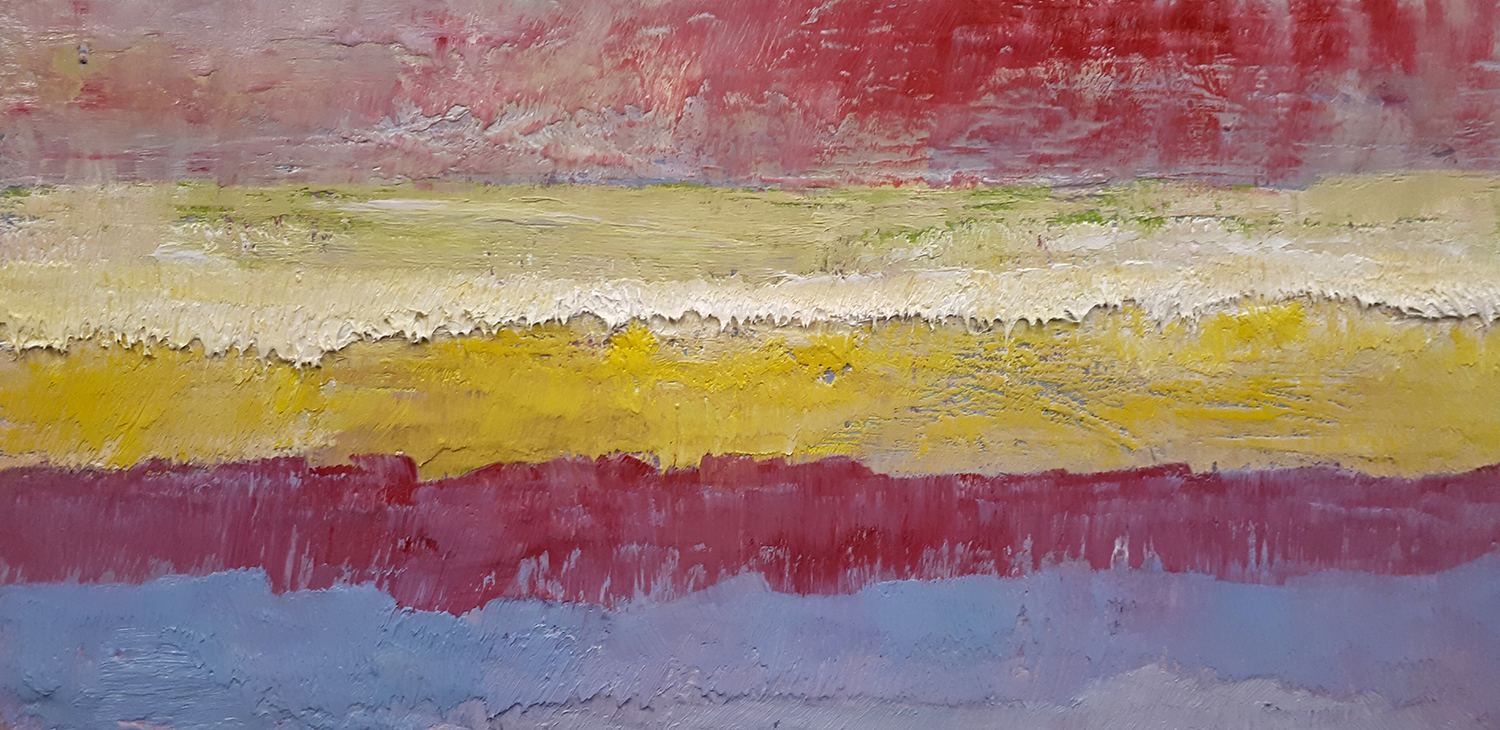 Earth Sounds (Red) Oil on Panel 36cm x 66cm