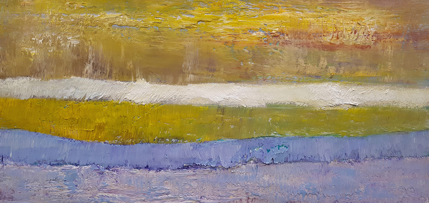 Earth Sounds (Yellow) Oil on Panel 36cm x 66cm